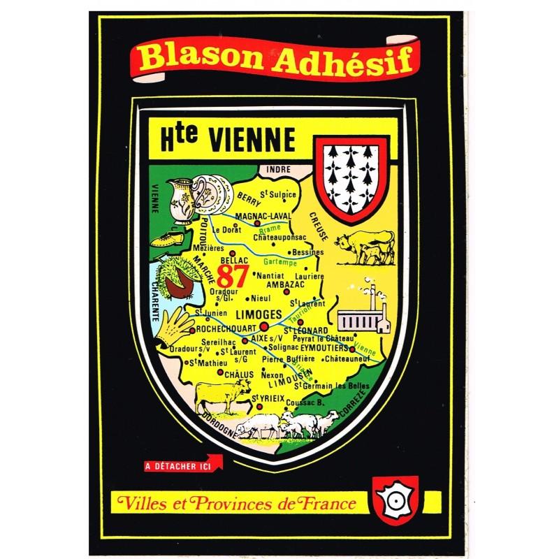 CARTE POSTALE BLASON ADHESIF - HAUTE VIENNE