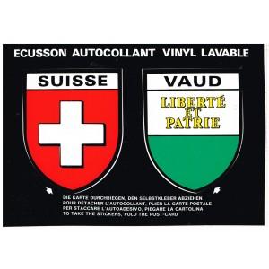 CARTE POSTALE DEUX ECUSSONS AUTOCOLLANTS - SUISSE et VAUD