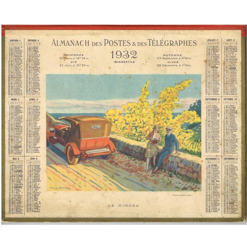 CALENDRIER ALMANACH DES POSTES ET DES TELEGRAPHES 1932 - LE MIMOSA