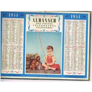 CALENDRIER ALMANACH DES POSTES TELEGRAPHES TELEPHONES 1954 - QU'Y A-T-IL AU BOUT ?