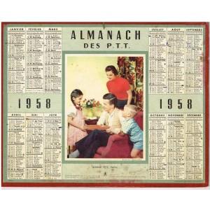 CALENDRIER ALMANACH DES PTT 1958 - BONNE FETE PAPA !