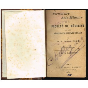 LIVRE MEDICAL : FORMULAIRE AIDE-MEMOIRE DE LA FACULTE DE MEDECINE