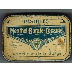 BOITE ANCIENNE EN METAL PASTILLES MENTHOL-BORATE-COCAINE