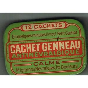 BOITE ANCIENNE EN METAL CACHETS GENNEAU - ANTINEVRALGIQUE