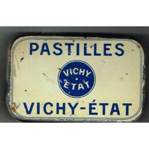 BOITE ANCIENNE PETIT FORMAT EN METAL DE PASTILLES VICHY-ETAT