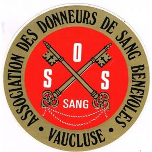 AUTOCOLLANT  SOS SANG - VAUCLUSE