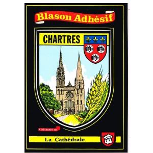 CARTE POSTALE BLASON ADHESIF - CHARTRES - LA CATHEDRALE