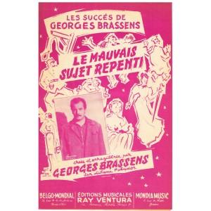 PARTITION DE GEORGES BRASSENS - LE MAUVAIS SUJET REPENTI