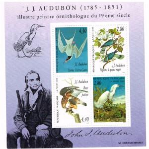 BLOC N° 18 HOMMAGE AU PEINTRE ORNITHOLOGUE J. J. AUDUBON - 1995