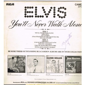 DISQUE 33 TOURS - ELVIS PRESLEY- ELVIS - YOU'LL NEVER WALK ALONE