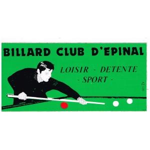 AUTOCOLLANT BILLARD CLUB D'EPINAL - LOISIR - DETENTE - SPORT