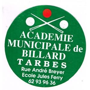 AUTOCOLLANT BILLARD - ACADEMIE MUNICIPALE DE BILLARD TARBES.