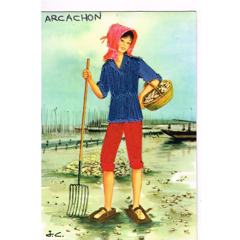 CARTE POSTALE BRODEE - ARCACHON SIGNEE  J. C