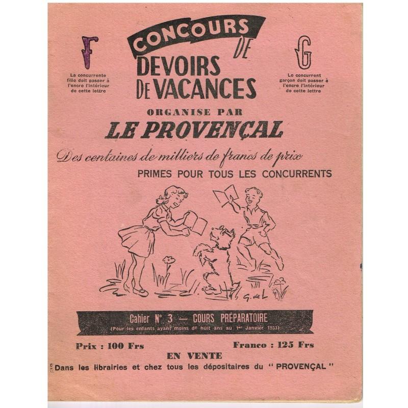 CAHIER CONCOURS DE DEVOIRS DE VACANCES ORGANISE PAR LE PROVENCAL