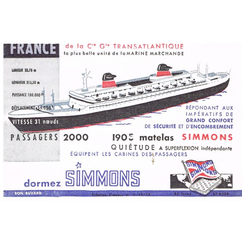 BUVARD MATELAS SIMMONS - LE FRANCE DE LA Cie Gle TRANSATLANTIQUE