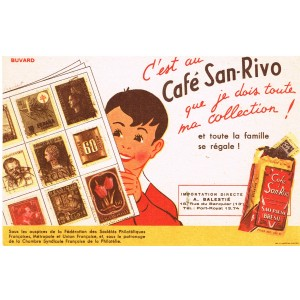 BUVARD CAFE SAN-RIVO ET COLLECTION DE TIMBRES