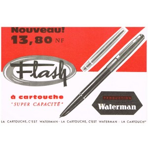 "BUVARD STYLO WATERMAN FLASH A CARTOUCHE ""SUPER CAPACITE"""