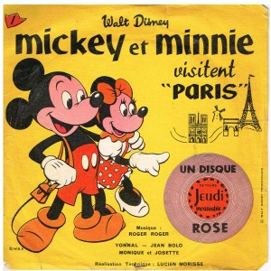 DISQUE ROSE 78 TOURS BIEM 15 cm MICKEY ET MINNIE  VISITENT PARIS