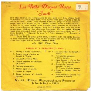 DISQUE ROSE 78 TOURS BIEM 15 cm MICKEY ET MINNIE  VISITENT PARIS