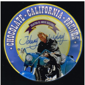 BOITE METAL JOHNNY HALLYDAY SUR SA MOTO HARLEY DAVIDSON