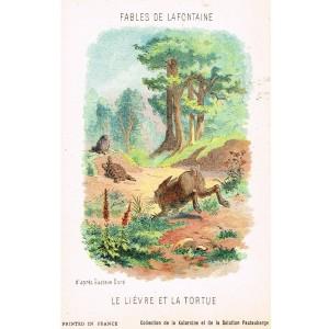 CARTE POSTALE FABLES DE LA FONTAINE - LE LIEVRE ET LA TORTUE - ILLUSTRATION D'APRES GUSTAVE DORE