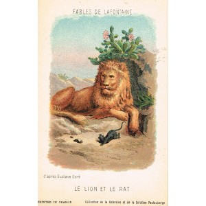 CARTE POSTALE FABLES DE LA FONTAINE - LE LION ET LE RAT - ILLUSTRATION D'APRES GUSTAVE DORE