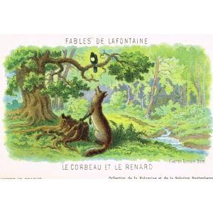 CARTE POSTALE FABLES DE LA FONTAINE - LE CORBEAU ET LE RENARD - ILLUSTRATION D'APRES GUSTAVE DORE