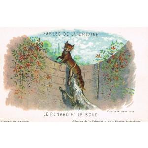 CARTE POSTALE FABLES DE LA FONTAINE - LE RENARD ET LE BOUC - ILLUSTRATION D'APRES GUSTAVE DORE