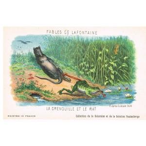 CARTE POSTALE FABLES DE LA FONTAINE - LA GRENOUILLE ET LE RAT - ILLUSTRATION D'APRES GUSTAVE DORE