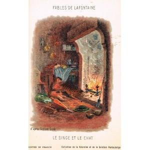 CARTE POSTALE FABLES DE LA FONTAINE - LE SINGE ET LE CHAT - ILLUSTRATION D'APRES GUSTAVE DORE