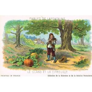 CARTE POSTALE FABLES DE LA FONTAINE - LE GLAND ET LA CITROUILLE - ILLUSTRATION D'APRES GUSTAVE DORE