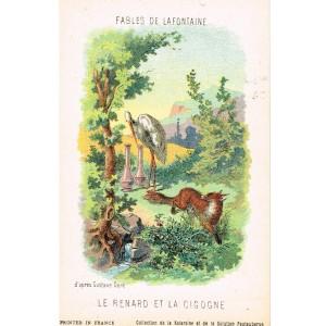 CARTE POSTALE FABLES DE LA FONTAINE - LE RENARD ET LA CIGOGNE - ILLUSTRATION D'APRES GUSTAVE DORE