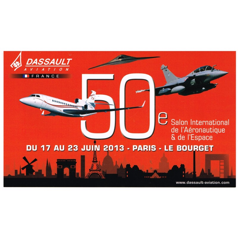 AUTOCOLLANT 50ème  SALON INTERNATIONAL DE L'AERONAUTIQUE & DE L'ESPACE