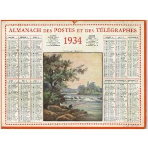 CALENDRIER ALMANACH DES POSTES ET DES TELEGRAPHES 1934 - LE BARRAGE