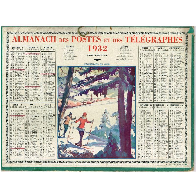 CALENDRIER ALMANACH DES POSTES ET DES TELEGRAPHES 1932 - PROMENADE EN SKIS