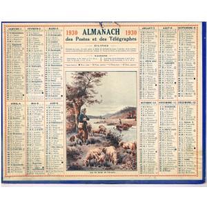 CALENDRIER ALMANACH DES POSTES ET DES TELEGRAPHES 1930 - SUR LES BORDS DE L'ORNAIN