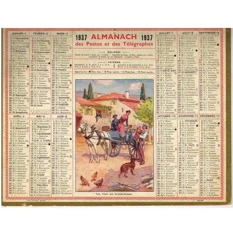 CALENDRIER ALMANACH DES POSTES ET DES TELEGRAPHES 1937 - UNE VISITE AUX GRANDS-PARENTS