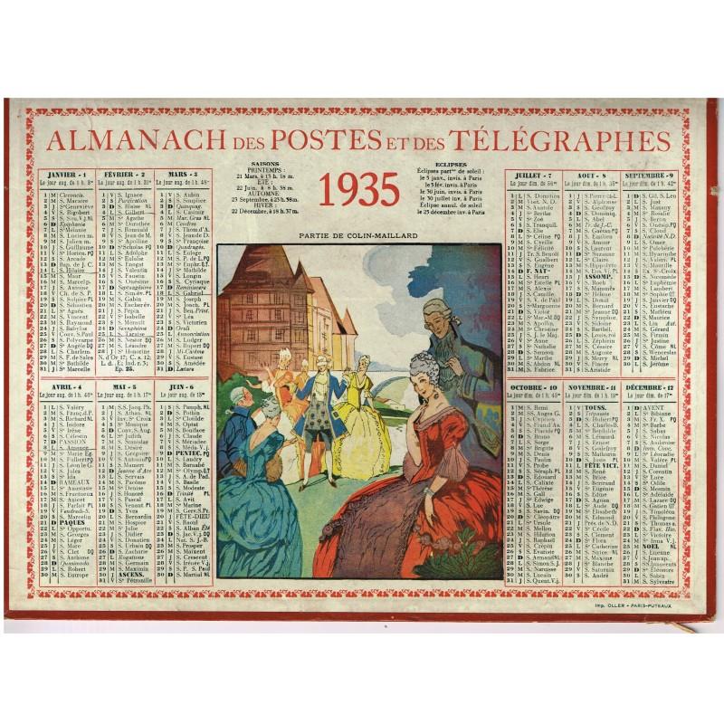 CALENDRIER ALMANACH DES POSTES ET DES TELEGRAPHES 1935 - PARTIE DE COLIN-MAILLARD