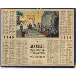 CALENDRIER ALMANACH DES POSTES ET TELEGRAPHES 1949 - MARCHE TUNISIEN