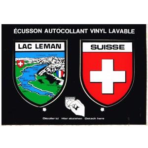 CARTE POSTALE DEUX ECUSSONS AUTOCOLLANTS - LAC LEMAN - SUISSE