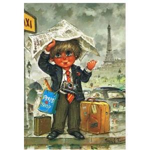 """CARTE POSTALE MICHEL THOMAS """"LES PETITS"""" - TOURISTE FAISANT DU STOP - C/100 - n° 133"""