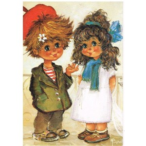 "CARTE POSTALE MICHEL THOMAS ""LES PETITS"" - COUPLE DE FUTURS MARIES - C/n° 114"