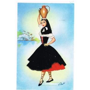 CARTE POSTALE BRODEE - FEMME CORSE