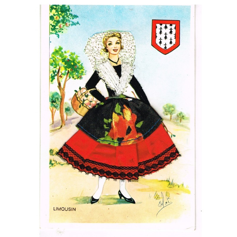 CARTE POSTALE BRODEE-HABILLEE - LIMOUSIN