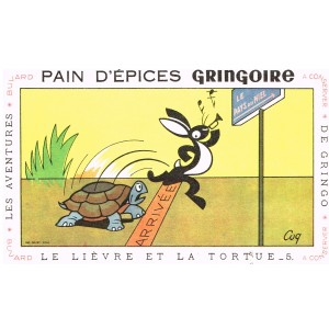 BUVARD  PAIN D'EPICES GRINGOIRE -  LE LIEVRE ET LA TORTUE - COQ