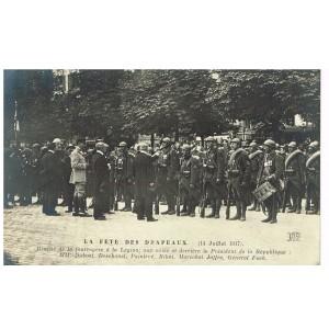 CARTE POSTALE MILITAIRE - LA FÊTE DES DRAPEAUX - 14 JUILLET 1917 - REMISE DE LA FOURRAGERE A LA LEGION