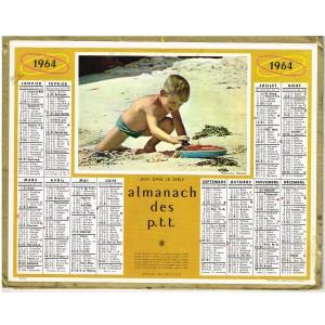 CALENDRIER ALMANACH 1964 - JEUX DANS LE SABLE