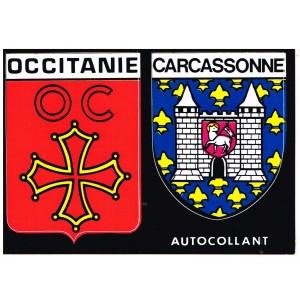 CARTE POSTALE DEUX ECUSSONS ADHESIFS - OCCITANIE - CARCASSONNE