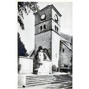 cp73-samoens-clocher-de-l-eglise-et-le-monument