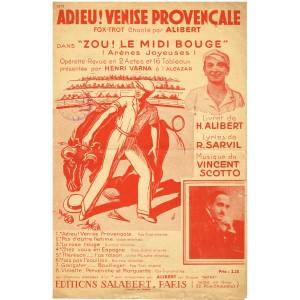 PARTITION DE ALIBERT - ADIEU ! VENISE PROVENCAL